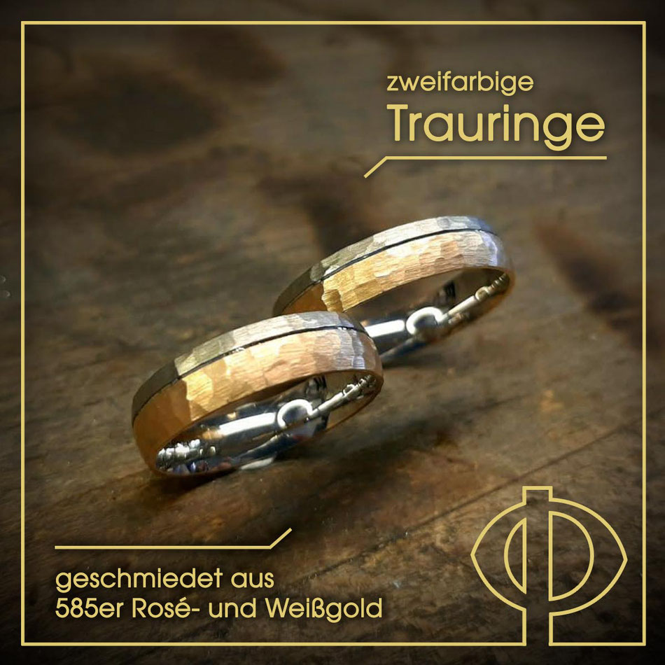 Zweifarbige, geschmiedete Trauringe aus 585er Rosé- und Weißgold – handgearbeitet in der Goldschmiede P. Oellerich in Bremerhaven