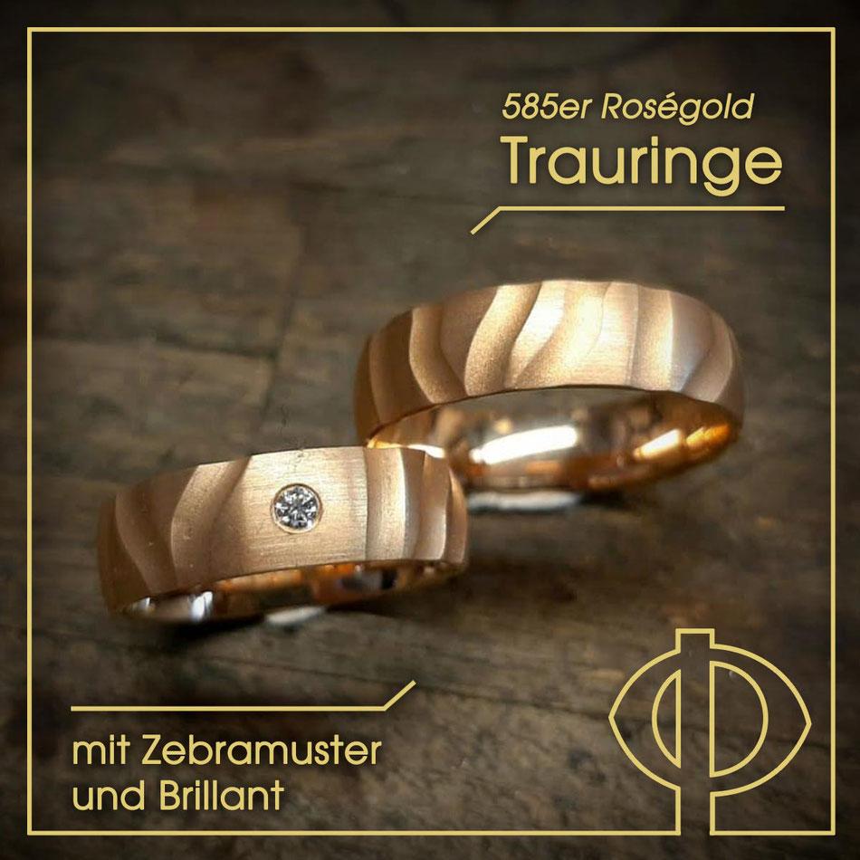 585er Roségold, handgearbeitete Trauringe mit Zebramuster und Brillant – handgearbeitet in der Goldschmiede P. Oellerich in Bremerhaven