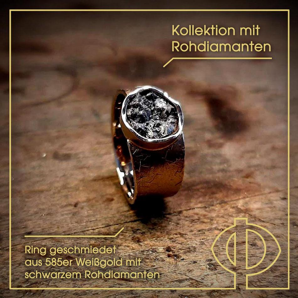 Schmuckkollektion mit Rohdiamanten aus der Goldschmiede P. Oellerich in Bremerhaven