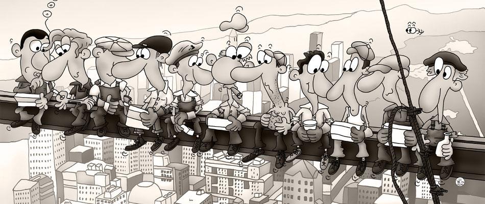 """Lunch atop a skyscraper"" nach Fotografie v. Charles C. Ebbets, New York, Bau des Rockefeller Centers 1932"