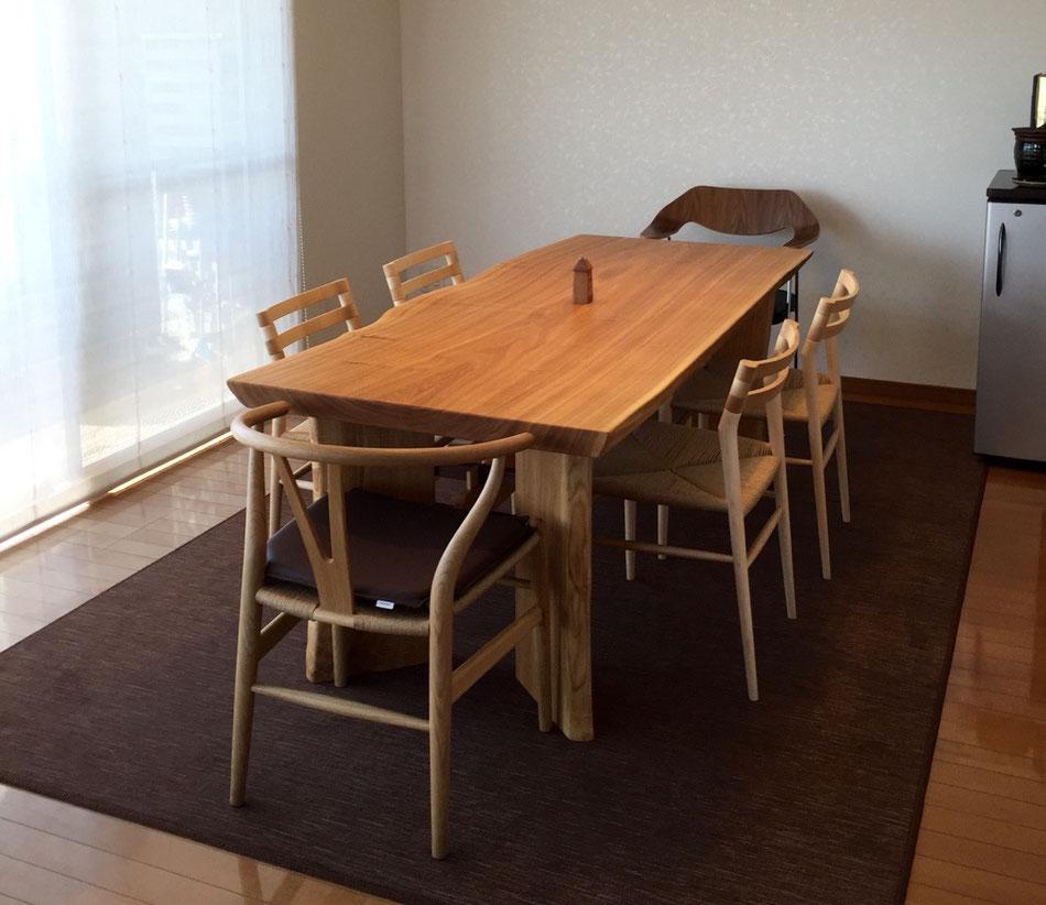 ダイニングテーブル タモ 一枚板