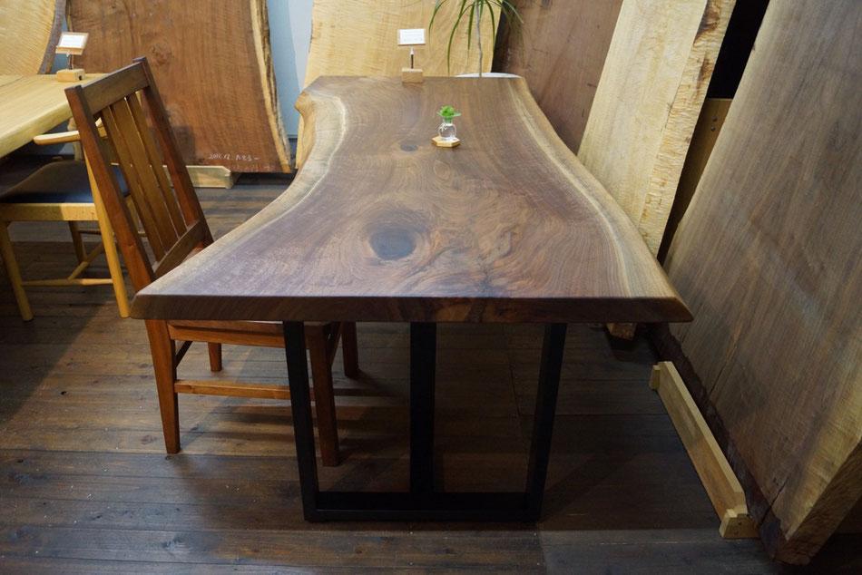 ブラックウォールナット テーブル 一枚板 ダイニングテーブル デスク
