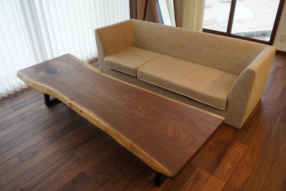 ブラックウォールナット 一枚板 センターテーブル 広島