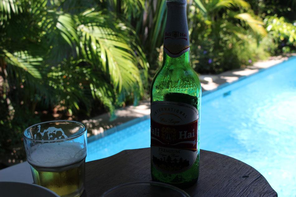 Afternoon beer time at poolside