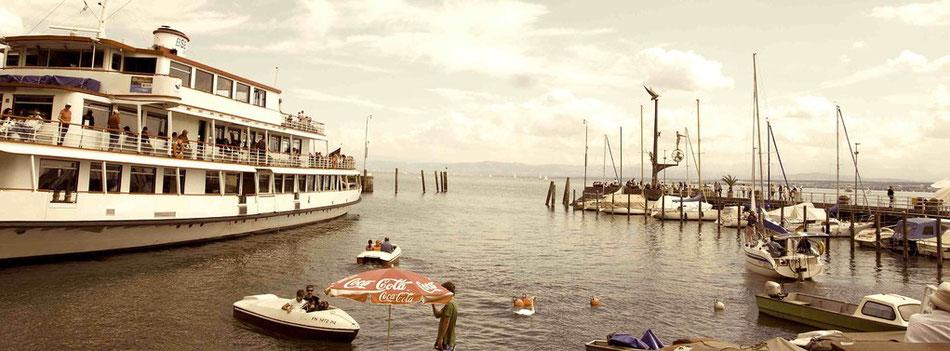 Bodensee Coca Cola Bootsvermietung Hafen Selgelschiffe