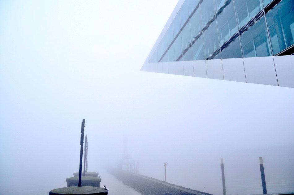Dicker Nebel über Hamburg und die Schiffe tuten auf der Elbe. Vorne am Dockland hat man normalerweise einen weiten Blick über den Fluss ...