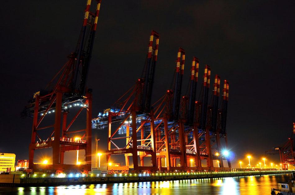Am Eurokai im Hamburger Freihafen. Hamburg Freihafen bei Nacht, Available Light Fotografie