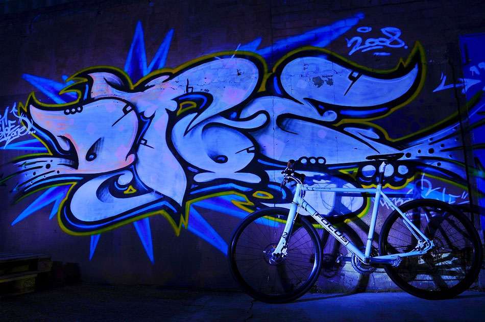 Focus Fitness Rad vor Graffiti