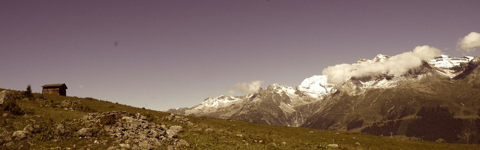 Hütte Alm Berge Schweiz Wandern Schnee