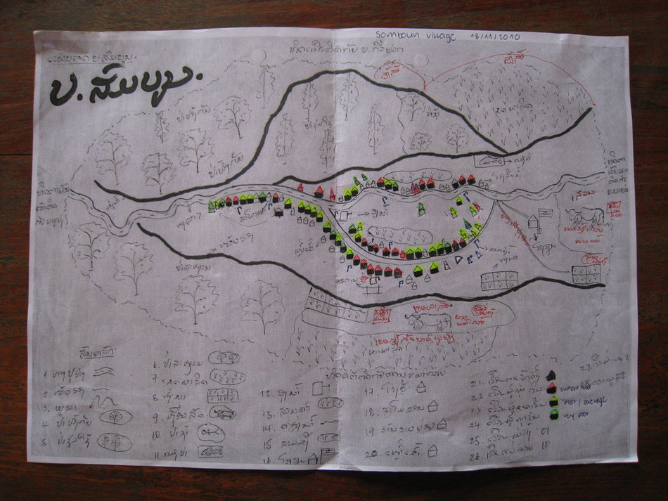 Picture 30: Map of Somboun village updated during the mid-term evaluation in 2010