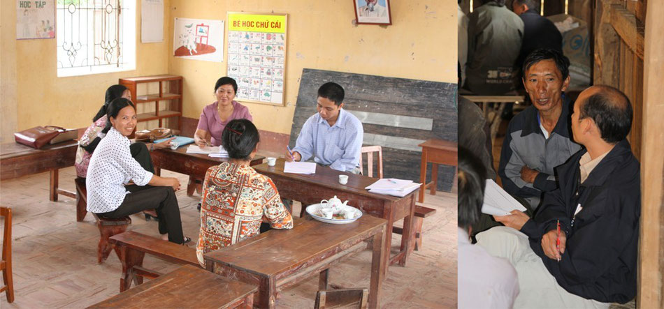 Picture 33: Left: An evaluation team conducting Key Informant Interviews with kindergarten teachers, right: a programme staff conducting a Key Informant Interview with a village leader