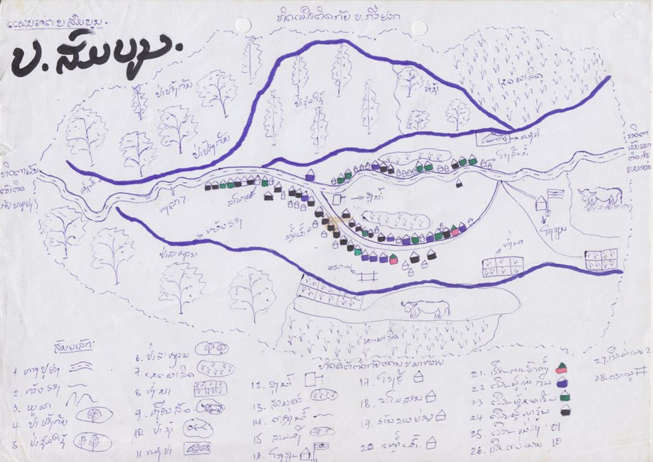 Picture 28: A map produced to provide a visual image of village conditions at the start of a project. Somboun Village, Phoukhoun District, Lao PDR (2005)