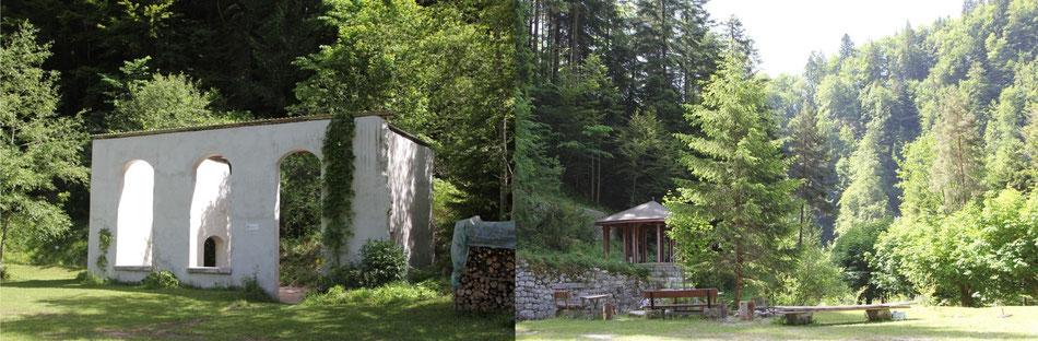 Abbildung 13: Überbleibsel der ehemaligen Kuranstalt Weissenburgbad mit Feuerstelle
