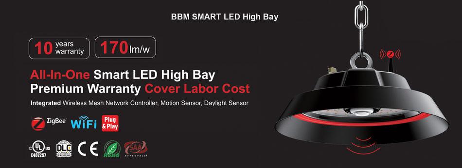 BBM Smart High Bay lampen, High Bay armaturen, beweging sensor, dimbaar draadloos Dali IP67 waterdicht BBM ledproducts