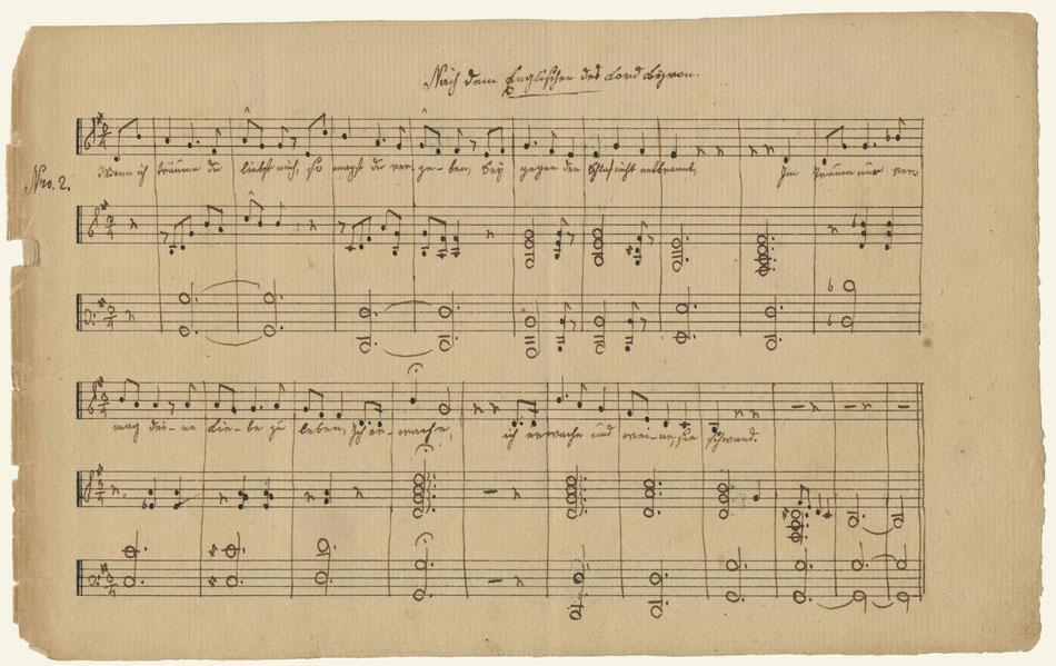 Faksimile einer Notenhandschrift von Annette von Droste-Hülshoff (Uni-Bibliothek Münster)