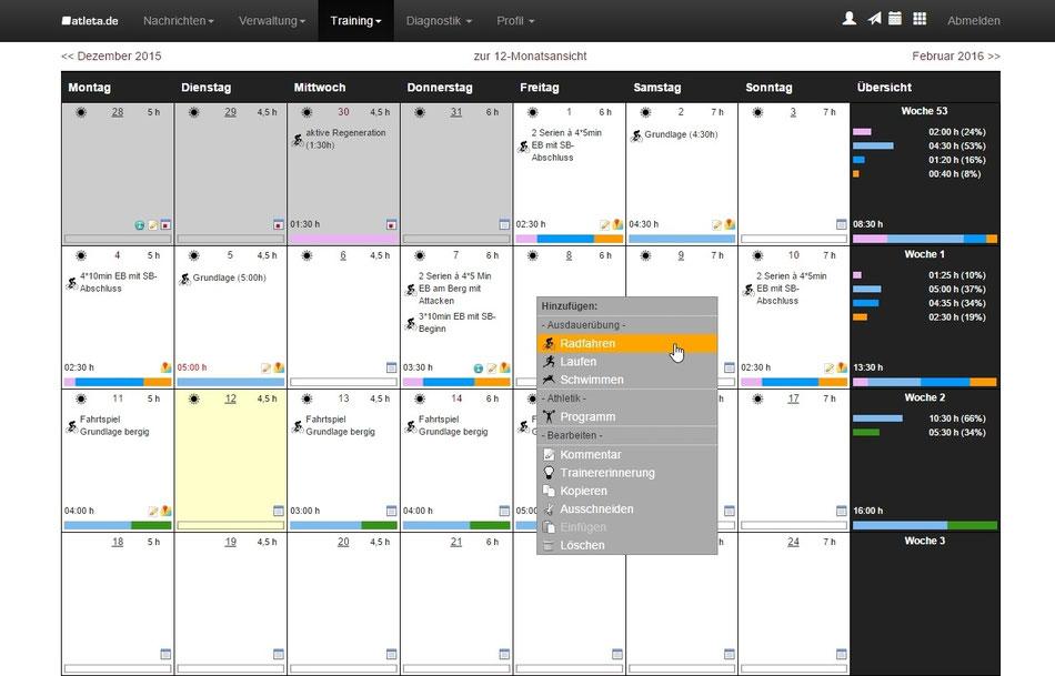 Screenshot: Übersichtliche Monatsdarstellung bei der Trainingsplanung mit atleta.de