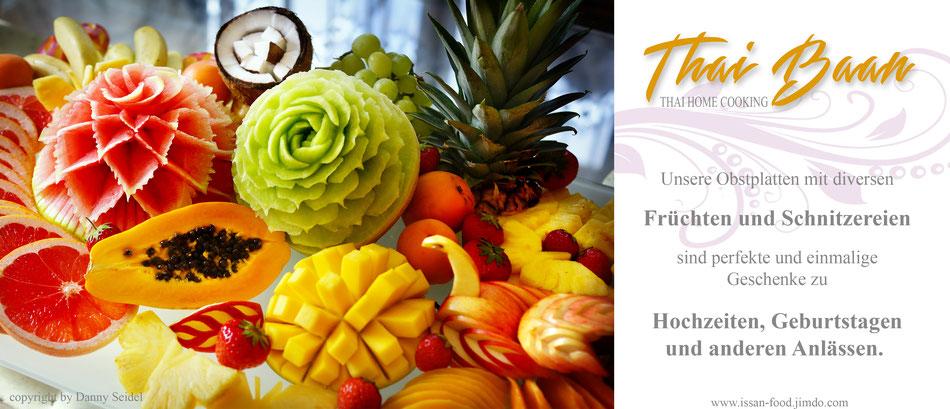 Thai Baan Kochservice, Obstschnitzerei , Yupin Seidel, Fruit Carving, Wedding gift, Hochzeit, Kochkurs, Obstplatte, Früchteteller, gesunde Ernährung, foodporn, luxus,