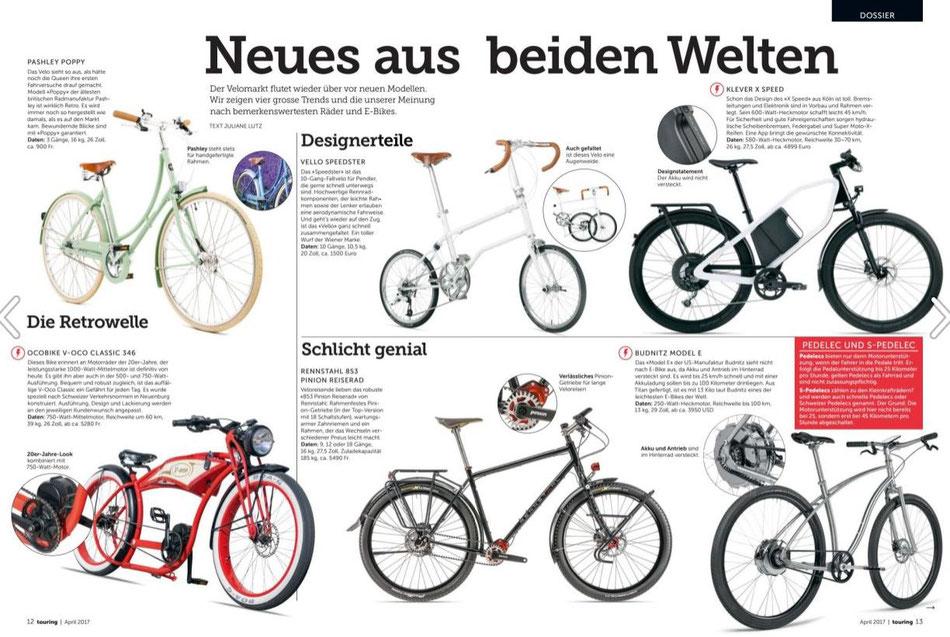 """Pashley POPPY in der """"Die Zeitung für Mobilität"""" Ausgabe vom April 2017 // TCS Touring Club der Schweiz"""