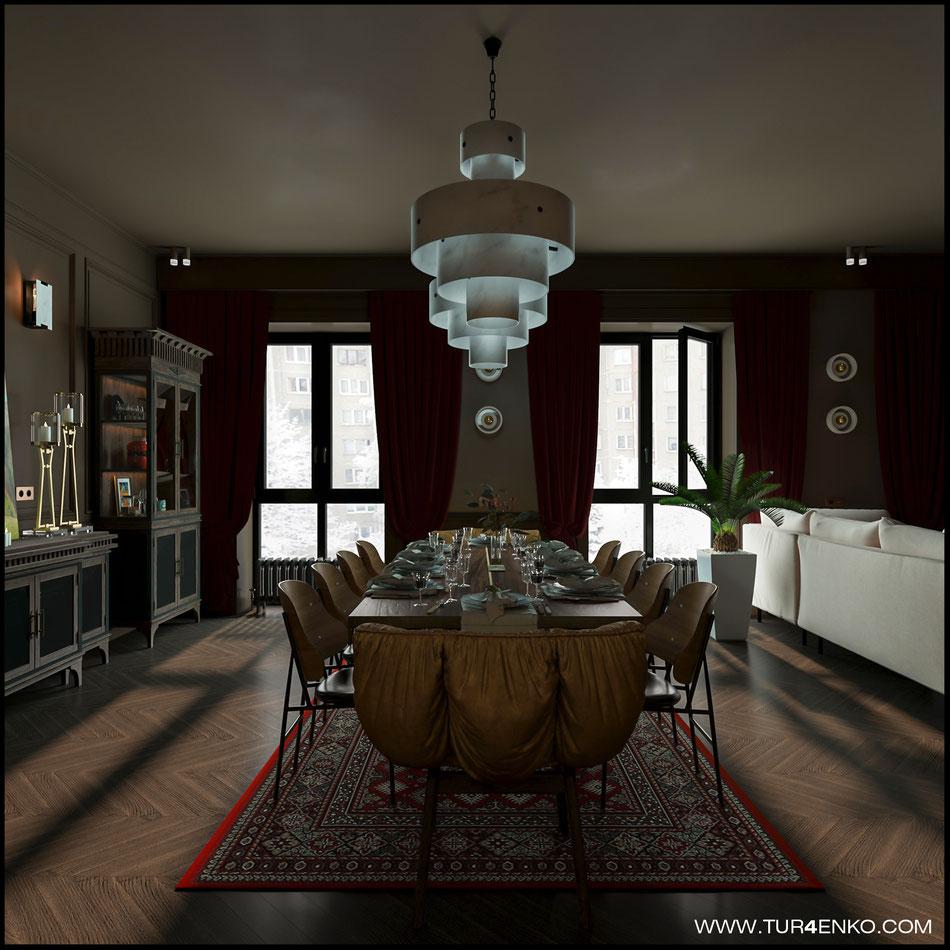 дизайн столовой в ЖК Резиденции композиторов 89163172980 Турченко Наталия