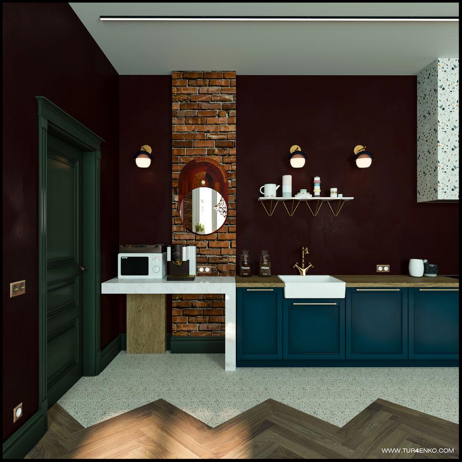 дизайн кухни в стиле винтажный лофт 89163172980