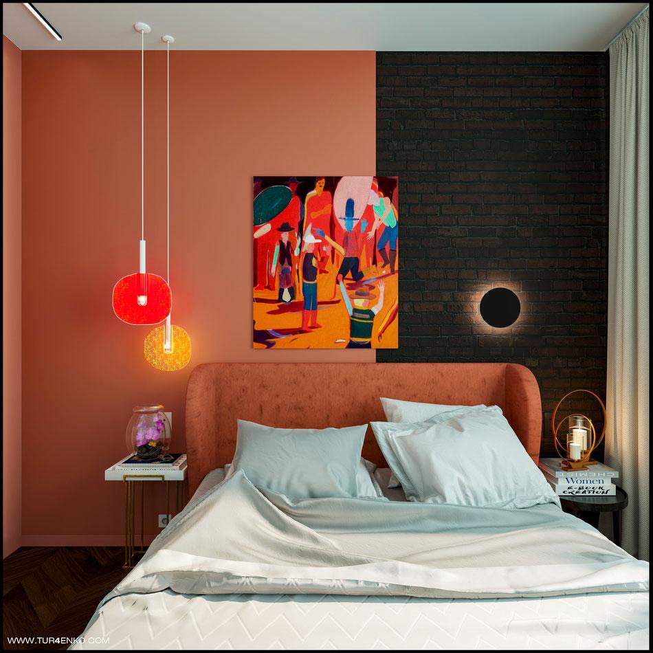 современный дизайн спальни в ярких тонах 89163172980