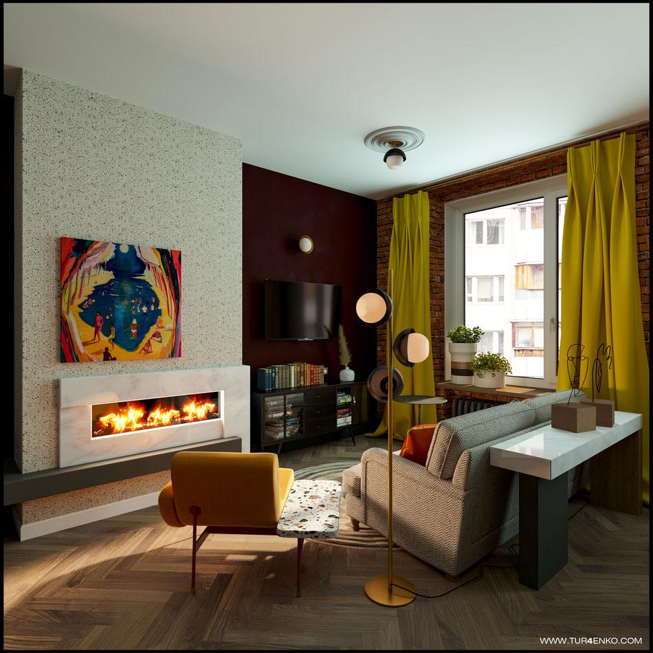 дизайн кухни-гостиной в стиле винтажный лофт 89163172980