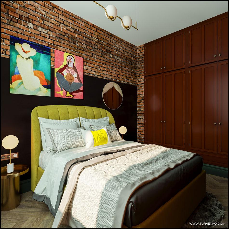 дизайн спальни в стиле винтажный лофт 89163172980