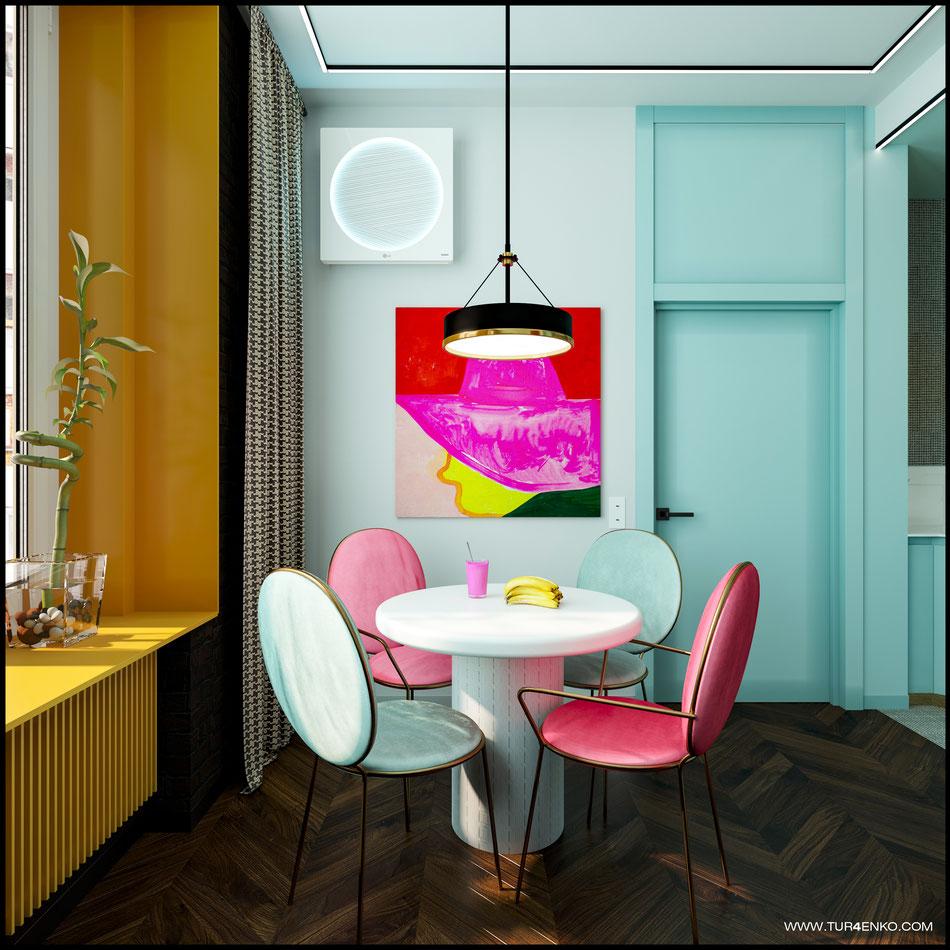 современный дизайн кухни-гостиной в ярких тонах 89163172980