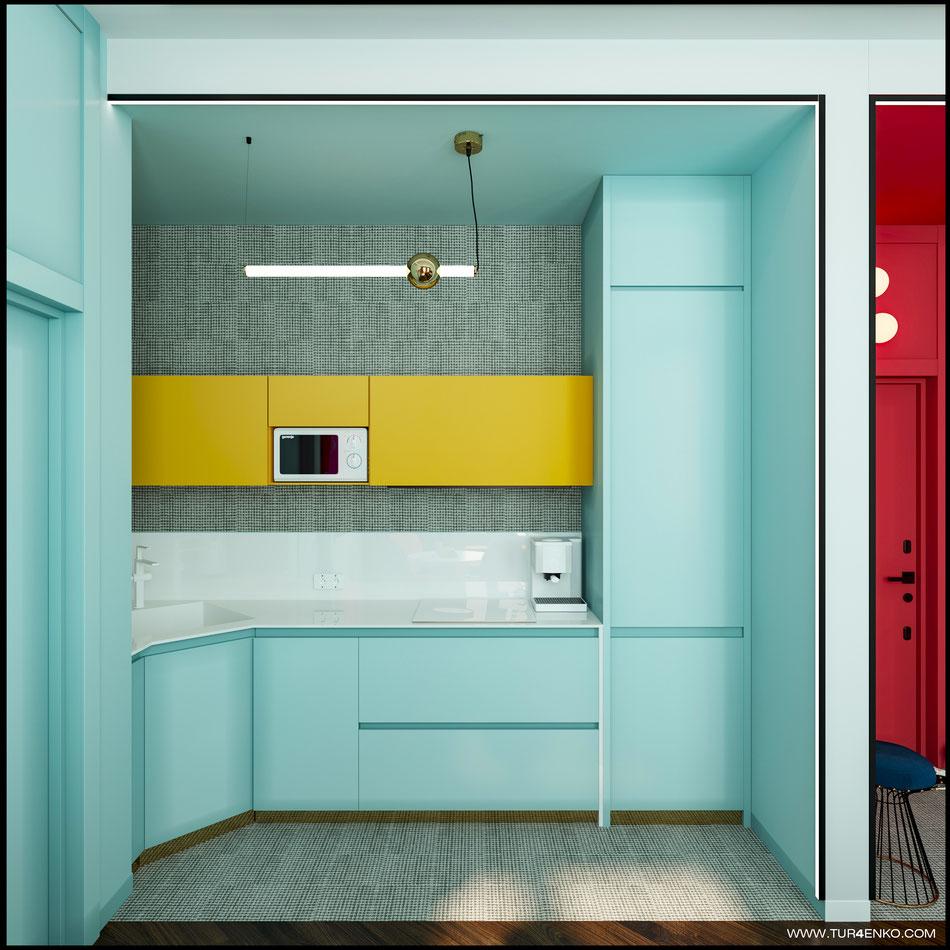 современный дизайн кухни в ярких тонах 89163172980
