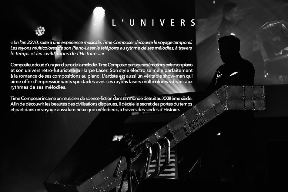 Laser Harp performer, composer, pianist. Show Harpe Laser, compositeur, pianiste.