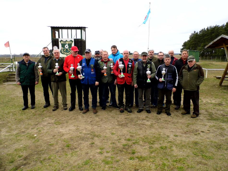Teilnehmer der 4. UER Bestenermittlung Trap am 25.03.2017 beim Bellinger Schützenverein e.V.