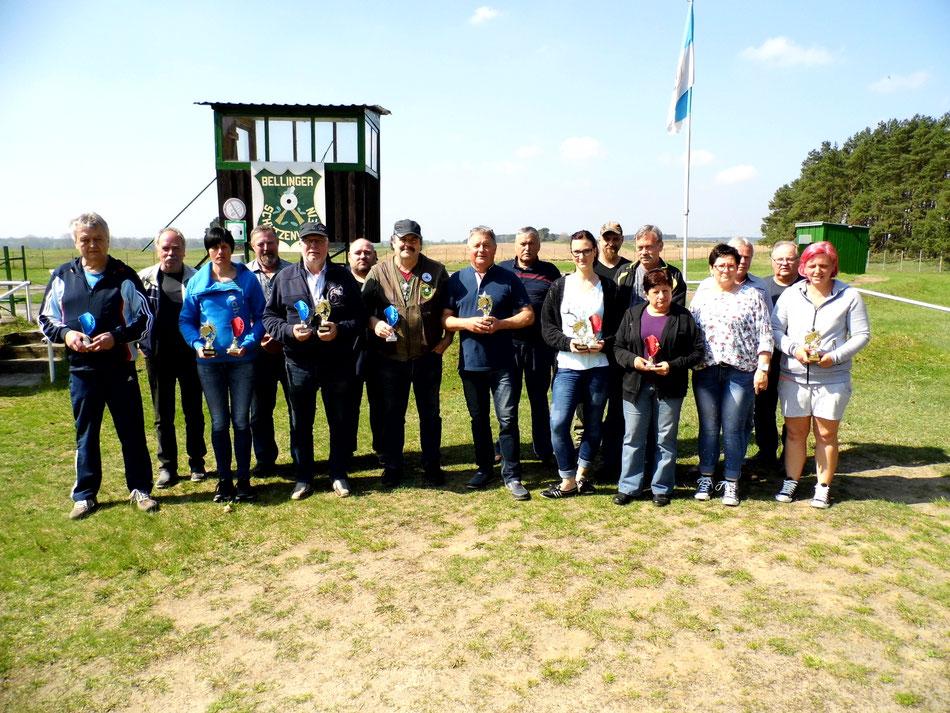 Teilnehmer der Vereinsmeisterschaft KK Lang- und Kurzwaffe am 21.04.2018
