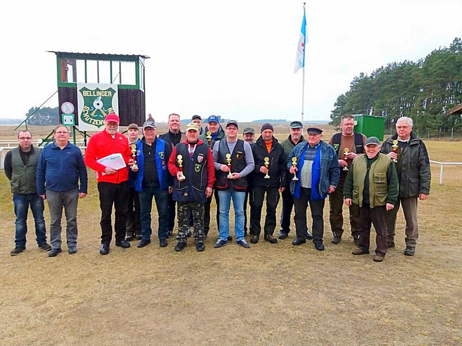 Teilnehmer der 5. UER Bestenermittlung Trap am 24.03.2018 beim Bellinger Schützenverein e.V.