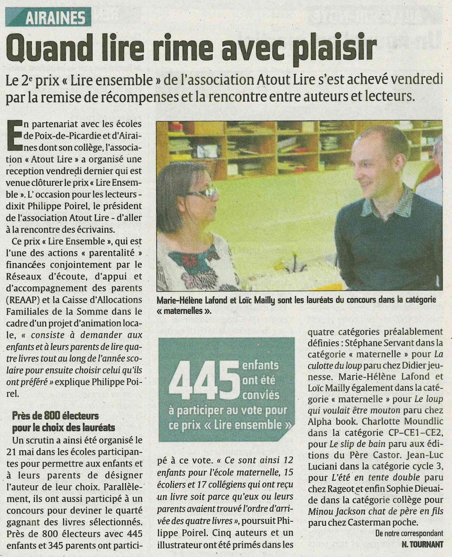 Article courrier Picard Prix  ATOUT LIRE