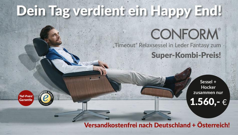 Conform Relaxsessel Timeout, Leder Fantasy, Super-Kombi-Preis, Conform Relaxsessel aus Schweden
