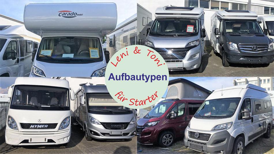 Wohnmobile Aufbautypen Leni und Toni erklären Aufbautypen bei Reisemobilen Kastenwagen teilintegrierte integrierte und Alkoven