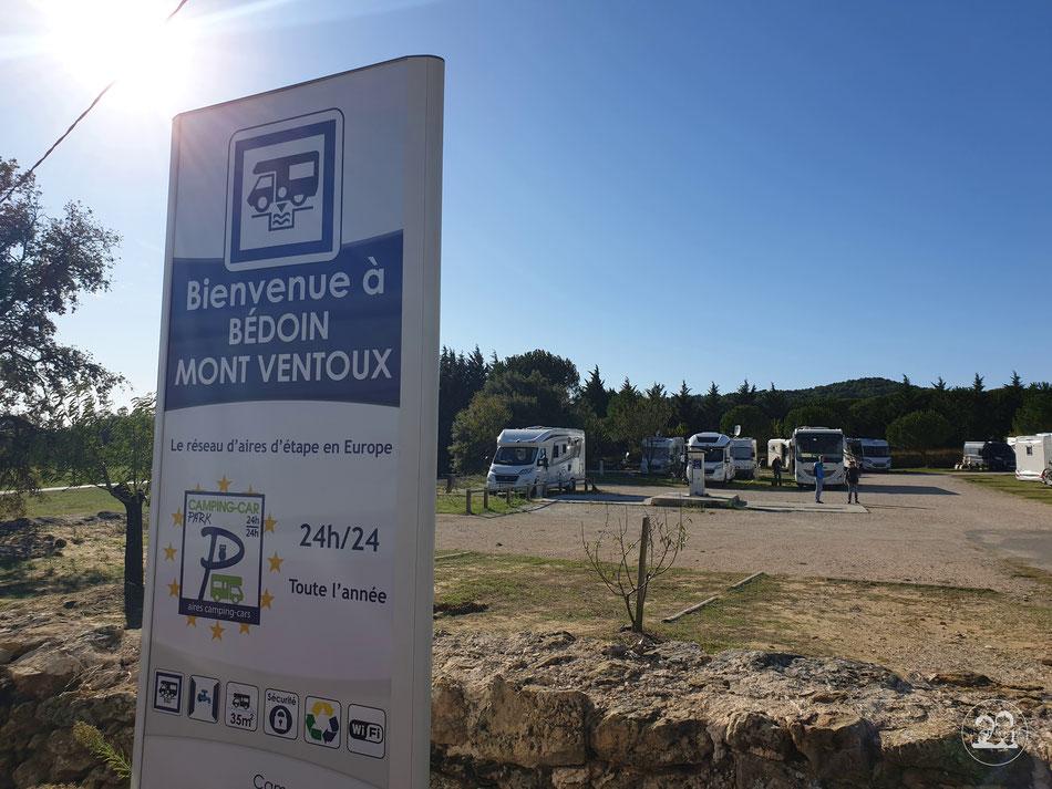 Wohnmobil Stellplatz in Südfrankreich Provence Leni und Toni Bedoin Mont Ventoux