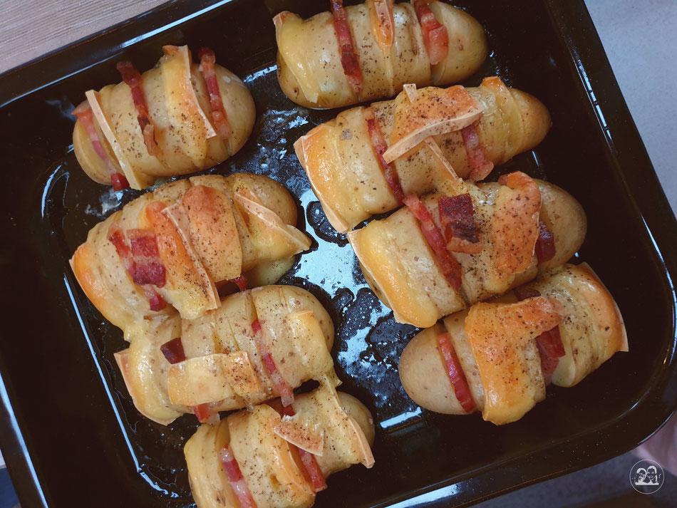 überbackene Speck Käse Kartoffeln Leni und Toni kochen im Wohnmobil und auf Reisen