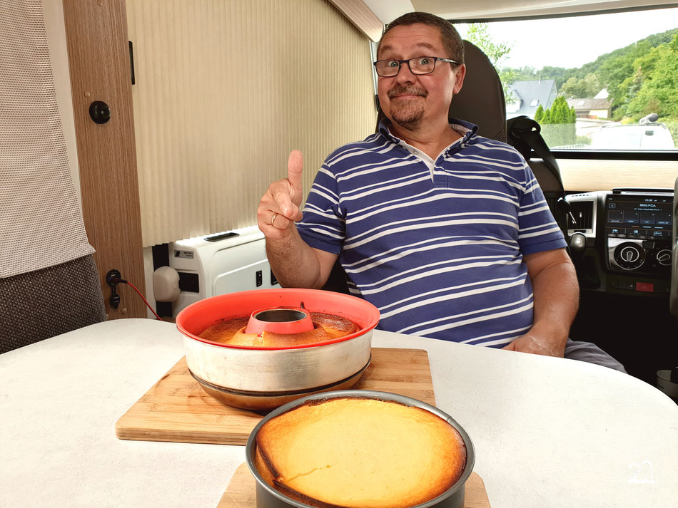 backen im Wohnmobil Quarkkuchen im Omnia schnelle Kuchenrezept für Camping