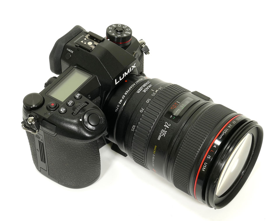 The EF-M2 on the Panasonic G( with Canon 24-105L IS lens