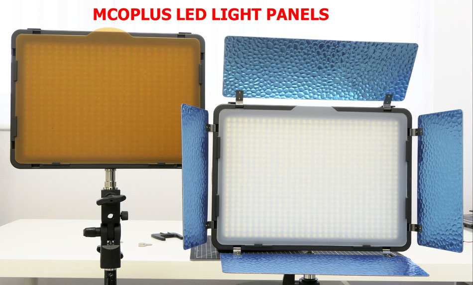 Mcoplus LED Light panels, the 520A and 720A (protective polythene not removed from the silvered barn doors!)