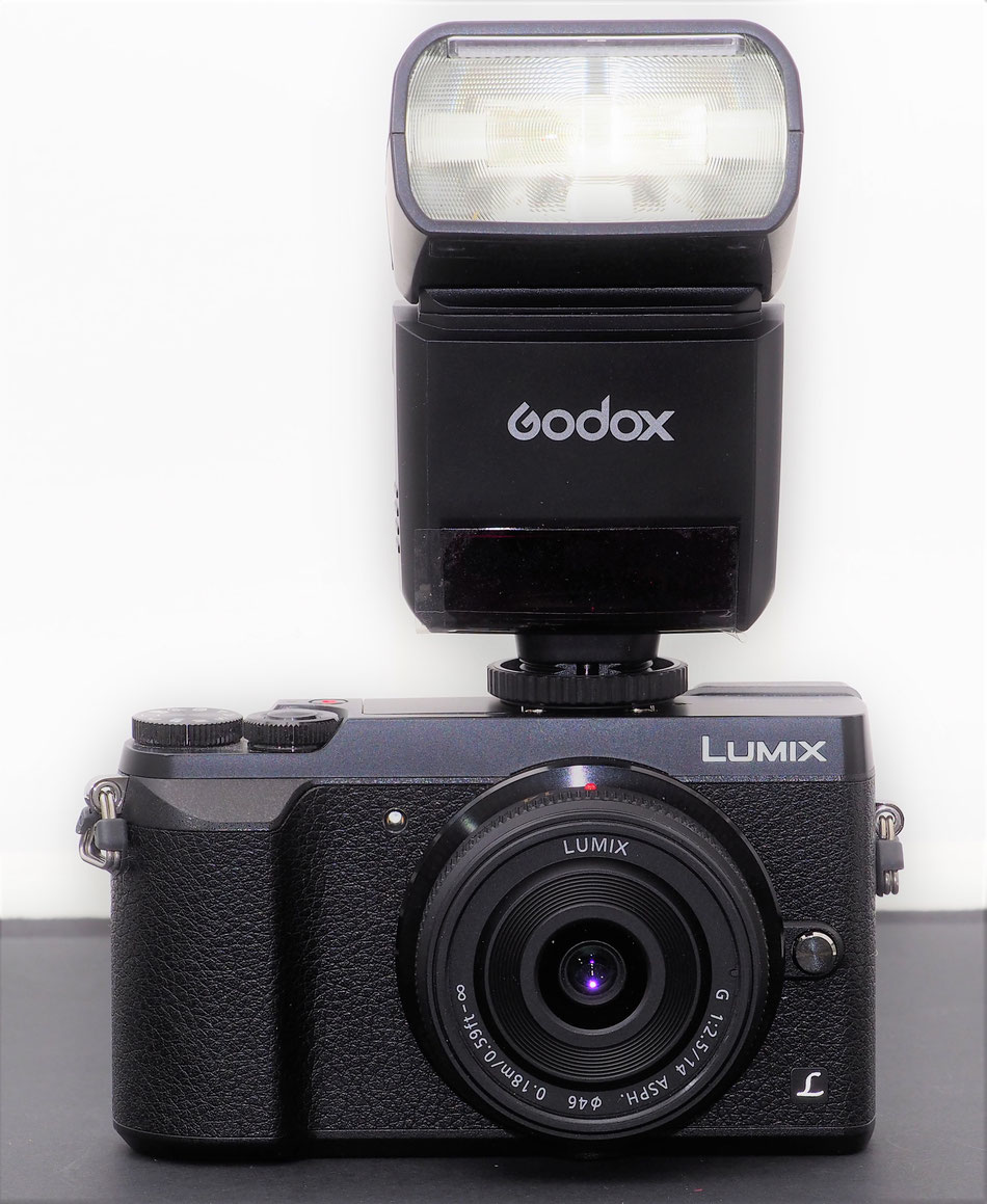 The Godox TT350o mounted on the Panasonic GX80 and used in the TTL mode as fill flash.