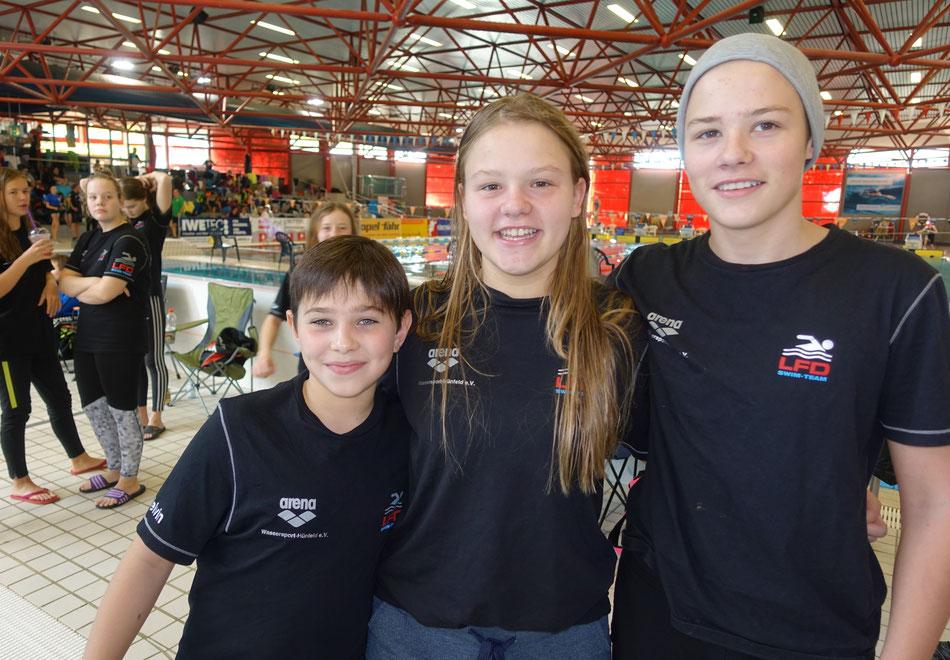 Qualifikation zur Hessischen Meisterschaft von links: Melvin Jonas, Alicia und Hendrik Link / Bild: PS
