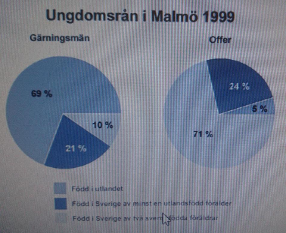 Endast 10% av gärningsmännen är Svenskar medans 71% av offren är just svenskar, vad kan vi dra för slutsats av detta?      Källa BRÅ