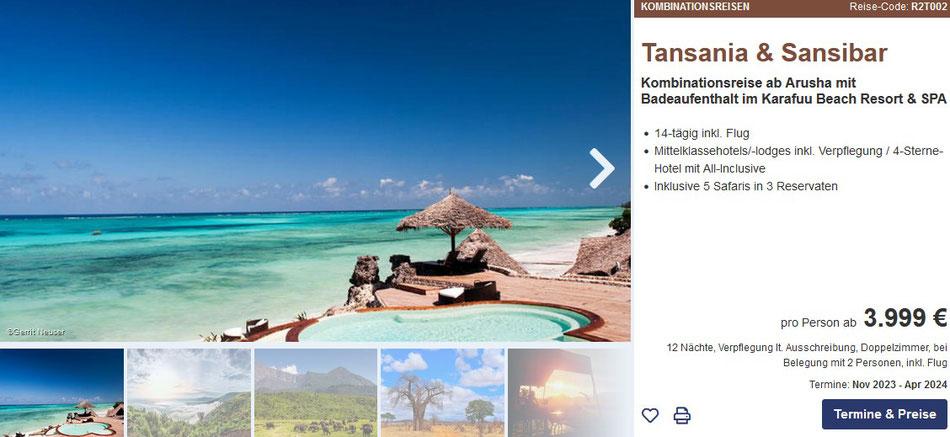 Rundreise Tansania mit Safari 2021 & Badeaufenthalt Insel Sansibar im all inclusive Hotel am Strand incl. Flug nach Sansibar und Heimflug; Deutsch sprechende  Reiseleitung
