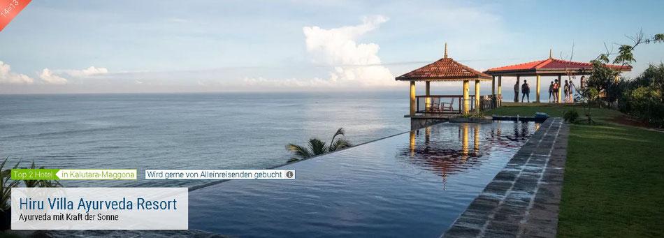 Empfehlung für Alleinreisende zum Sri Lanka Ayurveda Urlaub das Hiru Villa Ayurveda Resort 14 Tage  Klassische Ayurvedakur  Vollpension Doppelzimmer zur Alleinbenutzung ab 1.430,- € plus Flug & Transfer zum/vom Hotel hier zum tagesaktuellen Flugpreis