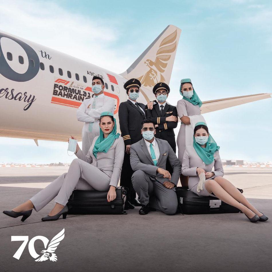"""Crew der Gulf Air zur """"the FORMULA 1 ®️ GULF AIR BAHRAIN GRAND PRIX 2020"""" © 2020- Gulf Air"""