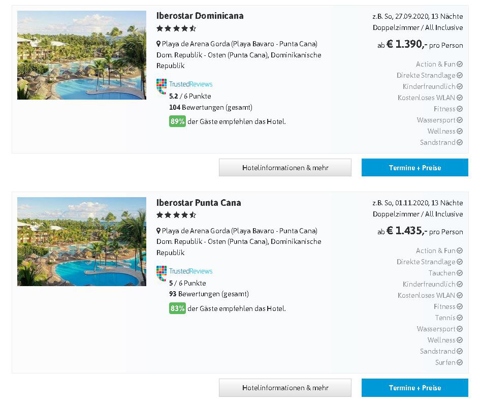 Urlaubsreisen Dominikanische Republik mit Hotel von Iberostar Punta Cana, Playa Dorada, Playa Bavaro, Samana last minute Urlaub all inclusive hier günstig buchen