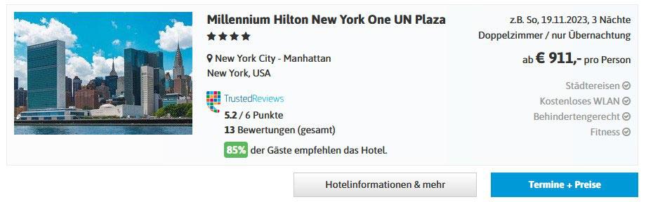 gute Hotels in New York Manhattan buchen, hier Hotel-Empfehlung Millenium Hilton New York Downtown mit Flug buchen