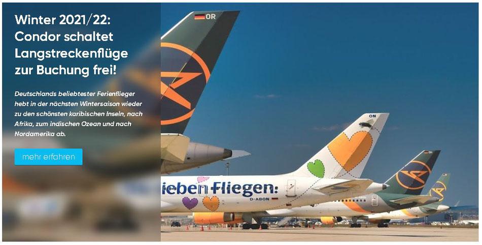 Condor Flugtickets und Langstreckenflüge Comfort Class mit Condor Karibik, Südafrika, Asien und Indischer Ozean Winter 2021-2022